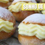 Sonho de padaria com recheio de creme belga